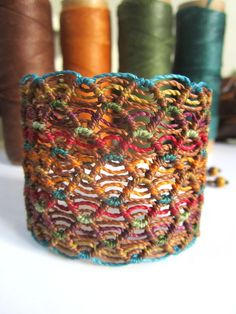 Macrame Brown Multicolor Wristband Bracelet by PapachoCreations