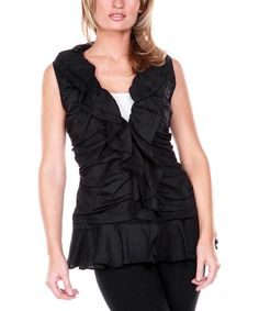 Another great find on #zulily! Black Ruffle Linen V-Neck Top - Women & Plus by Firmiana #zulilyfinds