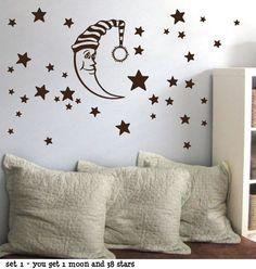 Moon Stars Children Baby Nursery Vinyl Wall by sticktakstickers