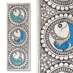 Dichromatic Madhubani painting featuring fishes