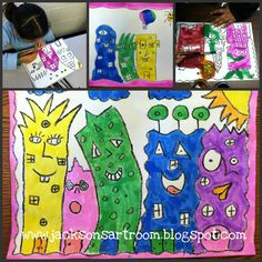 Jackson's Art Room: Tribute to James Rizzi First Grade Art, 4th Grade Art, First Art, Grade 2, Second Grade, Classroom Projects, Art Classroom, School Projects, Art Projects