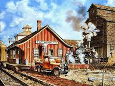 TOTTENHAM , Ontario - Railway station painting Old Canadian Train Stations, Québec and Ontario