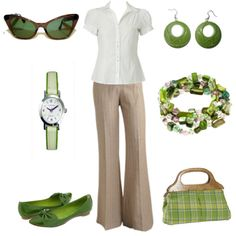 """Tan, spring green and white.   """"Sea spring green"""" pants-work outfit"""