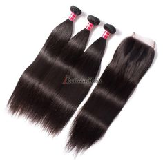 Straight Virgin Brazilian Human Hair 3 Bundles With Closure For Sale Online
