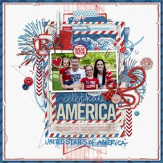 red white and blue layered scrapbook page from Kim at DesignerDigitals.com