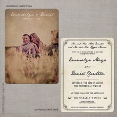 """I like the idea of sending the"""" save a date"""" picture in an antique look/Vintage Wedding Invitation  Emmalyn set 3 by NostalgicImprints, $2.95"""