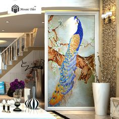 Bisazza Mosaic Peacock Picture Customized Glass Mosaic Back Splash Wall  Deco Mosaics Art Handmade Tile For