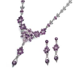 Amethyst Jewelry Sets | Dark Amethyst Crystal Cluster Bridesmaid Bridal Jewelry Set