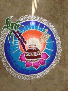 My sis Keerthi's Pongal kolam Best Rangoli Design, Simple Rangoli Designs Images, Rangoli Patterns, Rangoli Ideas, Rangoli Kolam Designs, Rangoli Designs With Dots, Rangoli With Dots, Simple Designs, New Year Rangoli