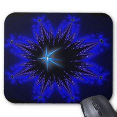 Blue star fractal mousepad