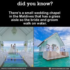 There's a small wedding chapel in the Maldives that has a glass aisle so the bride and groom walk on water. Source