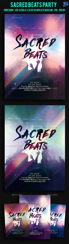 Sacred Beats Party Flyer — Photoshop PSD #geometric #house • Available here → https://graphicriver.net/item/sacred-beats-party-flyer-/17839902?ref=pxcr