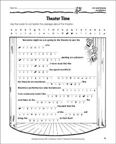 Theater Time (Art and Drama Vocabulary) Music Theory Worksheets, Teacher Worksheets, Printable Worksheets, Drama Education, Drama Class, Vocabulary Practice, Vocabulary Words, Drama Terms, Middle School Drama