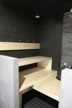 Beautiful sauna design and nice play with different materials
