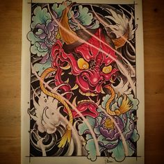 Another #hannyamask #design #art #tattoo #drawing #sketch #hannya #japan #japanesetattoo #japanese #japaneseart #peonytattoo #peony #flower #waves #tattoos #tattooing #tattooed #tattooart #tattoodesign #neojapanese #neotrad #neotradsub #neotraditional #newtraditional #UK #uktattoo #uktta