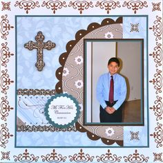 Elian's First Communion Baby Boy Scrapbook, School Scrapbook, Wedding Scrapbook, 8x8 Scrapbook Layouts, Scrapbook Sketches, Scrapbook Paper Crafts, Scrapbook Cards, Scrapbooking Ideas, Première Communion