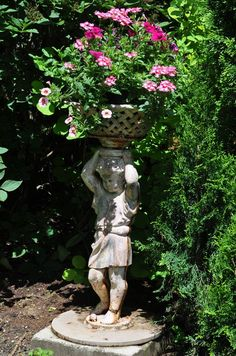 Sculpture pots/stands in front yard and woodd Angel Garden Statues, Outdoor Garden Statues, Garden Angels, Garden Fountains, Garden Trees, Outdoor Plants, Garden Path, Potted Plants, Tall Ornamental Grasses