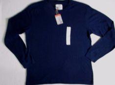 St John's Bay Men T Shirt XL Navy Solid Crew Thermal Long Sleeves Cotton 1700I #StJohnsBay #BasicTee