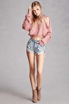 A pair of denim shorts featuring a distressed design, mid-rise, five-pocket construction, cuffed raw-cut hem, and a zip fly. This is an independent brand and not a Forever 21 branded item.