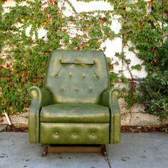 Los Angeles: The Best Vintage 1950's Marbled Green Rocker / Recliner Ever $295 - http://furnishlyst.com/listings/1132597