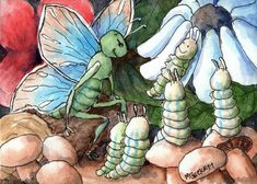 ACEO TW JUN Original Painting Butterfly Caterpillars fantasy mushrooms insects #Fantasy