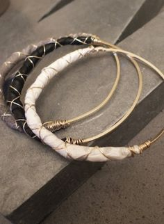Just discovered this jewelry designer Whitley Designs while at Project tradeshow. Love these leather/gold bracelets.