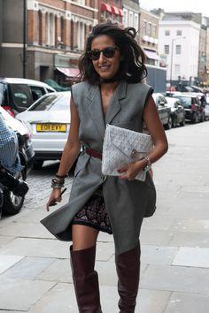 Nausheen Shah played up Fall layers in a belted sleeveless blazer | LFW