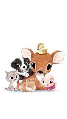 Cute art, cute drawings of animals, cute cartoon animals, cute animals, deer Cute Animal Illustration, Cute Animal Drawings, Cute Drawings, Illustration Art, Animal Illustrations, Illustrations Posters, Baby Animals, Cute Animals, Cute Cartoon