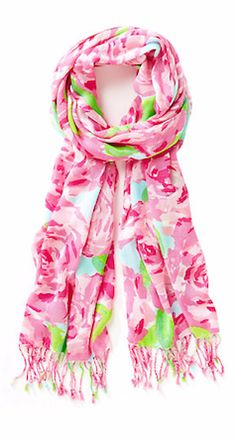 Pink rose Lily Pulitzer scarf