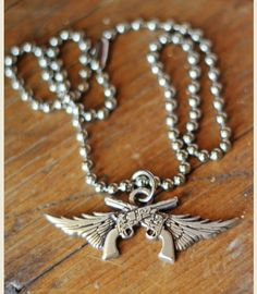 GUNS N' WINGS PENDANT NECKLACE - miranda lambert collection . . Junk GYpSy co.