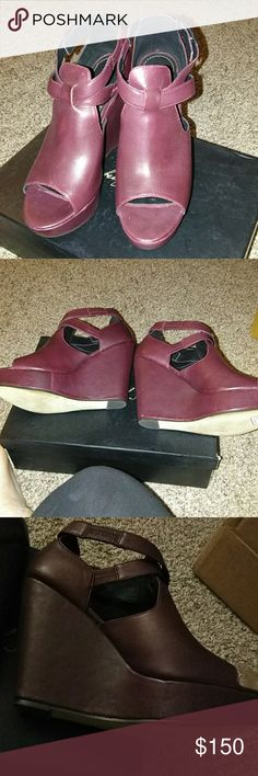 Elizabeth & James Harly Wedges Size 10. Bordeaux color. Shoes are about the color in the 3rd picture. Flash was on in other pictures. Great condition. Some wear on soles, comes with box. Elizabeth and James Shoes Wedges