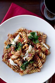 """""""Fusilli a la Brando"""" with Cabernet Sun-Dried Tomato & Basil Pesto, Garlic Rapini and Fresh Mozzarella"""