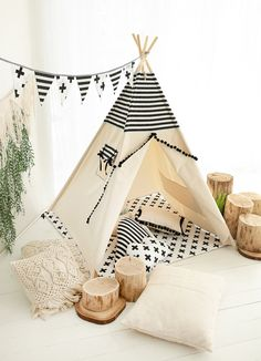 Black&White tipi tent is made of strong canvas and cotton in black and white strips. The entrance to the wigwam is decorated with a black tape with pompons. Childrens Teepee, Kids Teepee Tent, Canopy Tent, Teepees, Canopies, Kids Bedroom Boys, Kids Room, Cat Tent, Tent Design