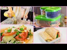 3 Healthy + Easy Lunch Ideas For Work & School! - YouTube -Mediterranean wrap -Pesto sundried tomato pasta - Apple, walnut &goat cheese salad