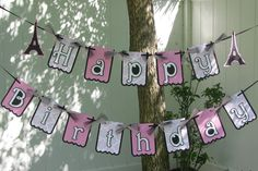 Paris Happy Birthday Banner  MADE TO ORDER by mypaperpantry, $28.00