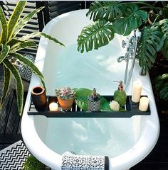 today we change completely place in the house just to show you how can you integrate plants also in your most private room: the bathroom, full inspo linked in bio Tropical Bathroom, Small Bathroom, Bath Tube, Ritual Bath, Outdoor Baths, Bathroom Goals, Private Room, Instagram, Design