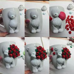 How to make Teddy Bear with rose bouquet. Polymer clay tutorial, how to decorate mug with clay, cute figurine, handmade decor Cute Polymer Clay, Fimo Clay, Polymer Clay Projects, Polymer Clay Charms, Polymer Clay Creations, Handmade Polymer Clay, Polymer Clay Jewelry, Clay Crafts, Fimo Kawaii