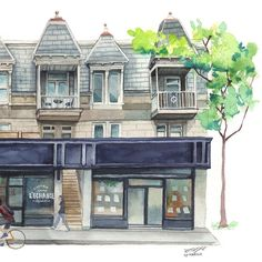 """One of the most favorite places in Montreal for me, the @librairielechange , where I bought my Adele Blanc-Sec comics in 2012 and where I spent great time, its is located on my favorite place of the city, the Plateau Montreal. When I saw the pic by @passionmontreal I said myself that I had to do this painting! 😊 this one is a very large one, 12""""x18"""" in , I hope I can show the original soon. . . . . #artoftheday #illustration #aquarelle #watercolor #architecture #sketchwalker #montreall…"""