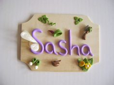Kids Name Signs, Cake Toppers, Nursery Decor, Ornaments by PaisleyandParadise Nursery Decor, Wall Decor, Hanging Table, Clay Design, Clay Flowers, Nameplate, Kids Corner, Polymers, Name Signs