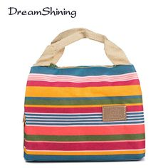 Insulated Neoprene Lunch Bag Canvas Stripe Thermal Bags Kids Baby Tote Picnic Lunchbox lunch package convenient portable