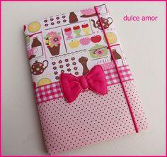 mudamos para www.dulceamor.tanlup.com to te esperando la!!!   caderno brochura acolchoado 48 fls tecido 100% algodao produto feito a mao nao lavavel