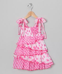Take a look at this Pink Polka Dot Ruffle Dress - Toddler & Girls by Lele for Kids on #zulily today!