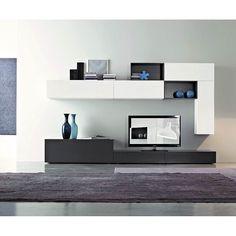Die moderne und hochwertige Wohnwand C26B von FGF Mobilibesteht ausÖko freundlichem Parawoodund wird in Italien hergestellt. #modern #tv #wohnwand #lowboard #hängeschrank #wohnzimmer #livingroom