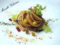 Bucatini al marsala con verdure croccanti