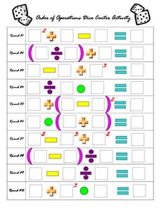 Order of Operations Dice Center Activity | The games, Places and Math