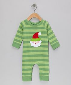Take a look at this Green Stripe Santa Bodysuit - Infant on zulily today!
