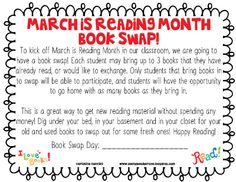 Classroom Freebies Too: March is Reading Month Book Swap