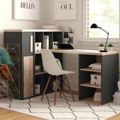 Trule Teen Nowak Study L-Shape Executive Desk with Bookcase L Shaped Executive Desk, Teen Desk, L Shaped Desk, Home Office Design, Home Office Furniture, Bedroom Furniture, Room Decor, Interior Design, House Styles