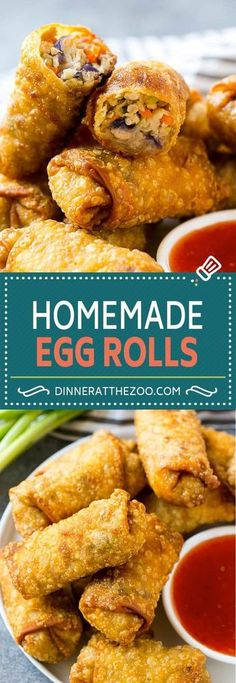These homemade egg rolls are filled with pork and vegetables, all wrapped up and fried to crispy perfection. The perfect make-ahead appetizer for any event! Chinese egg rolls are a great snack or starter for any Asian style meal. Vegetarian Chinese Recipes, Authentic Chinese Recipes, Chinese Chicken Recipes, Easy Chinese Recipes, Asian Recipes, Chinese Meals, Recipe Chicken, Chicken Salad, Vegetarian Egg Rolls