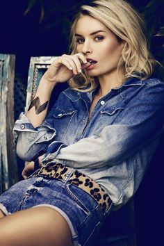 The best of denim and animal print #ombre #shorts #trend #style #fashion #blonde #editorial #hair #clothes